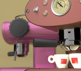 Red and Pink Espresso Machines