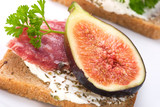 Hard salami with figs canapes poster