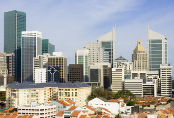 Cityscape of Singapore showing the financial district