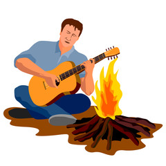 Camping guy cross-legged playing the guitar