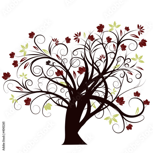 beautiful abstract vector autumn tree design
