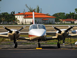 Propeller driver airplane front view poster