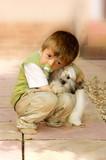 Little boy cuddling his dog poster