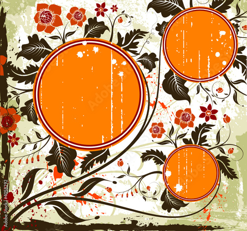 Grunge paint flower background with circles, vector