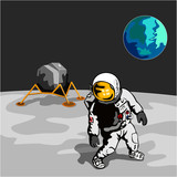 Astronaut walking on the moon with lunar module poster