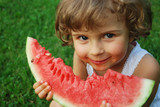 Fototapety beautiful four years old with watermelon