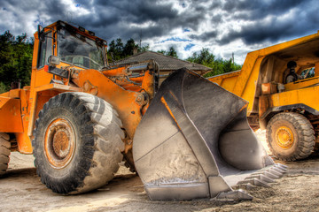 Bulldozer at construction yard