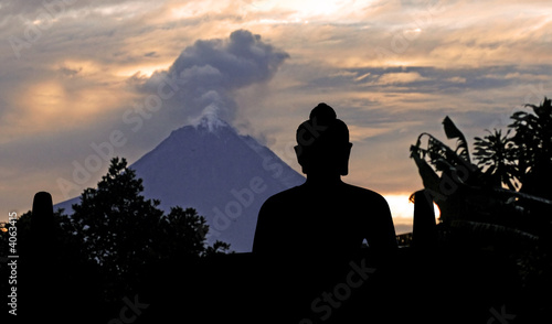 Indonesia, java, Borobudur: Merapi Volcano at the sunrise
