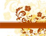 Grunge paint monochrome flower background, vector poster