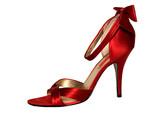 elegant red shoe on high heel poster