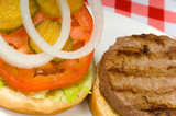 Hamburger at picnic poster
