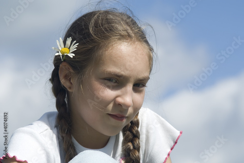 Girl and camomile III