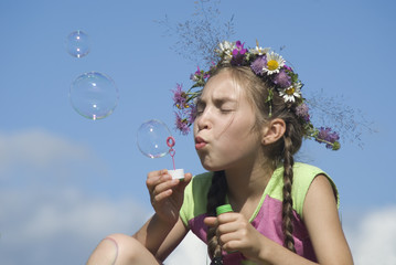 Girl with  soap bubbles IV