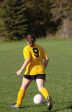 Youth Teen Soccer Player Chasing Ball poster