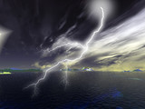 Storms with lightening illustrations poster