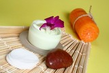 Moisturizing face cream with candles poster