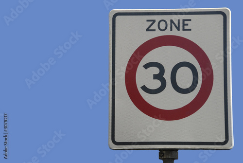 Dutch traffic sign, speed limit 30 km/hour