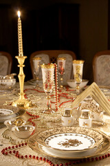 Table with gold dishes
