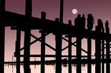 Myanmar, Amarapura, U Bein bridge; stunning sundown from U bein poster