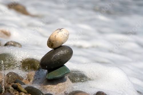 balanced stones on the sea