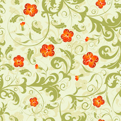 Floral seamless pattern with background seamless, vector