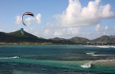 Kite surfing over the caribean sea