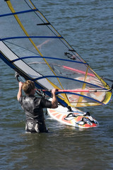 Windsurfer getting ready for a fun filled day