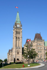 Canadian Parliament Building in Ottawa, side viewof Peace Tower