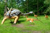 Fototapety Troodon attacking Euoplocephalus, dinosaurs series