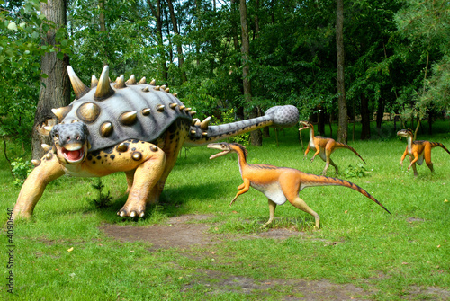 Poster Troodon attacking Euoplocephalus, dinosaurs series