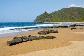 whitewash on tropical caribbean island with rocks on the beach