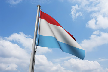 Netherlands Flag Waving in Front of Cloudy Sky