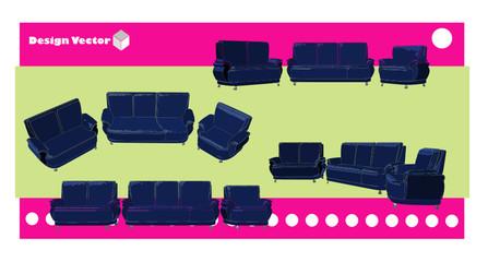 sofa en vector