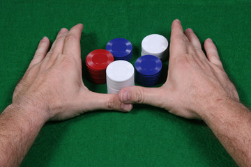 Going all in during a game of poker