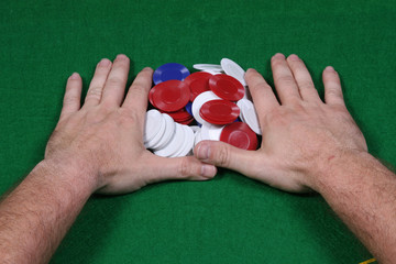Pushing all chips for a all-in bet in a game of poker