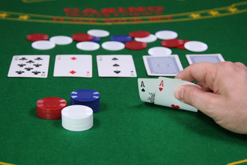 Pocket aces in a game of Texas Hold-em