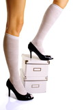 Legs - sexy woman legs, high heels on office boxes poster