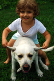 beautiful girl with labrador retriever poster