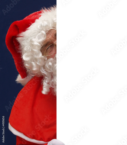 Santa playing peepo behind your message
