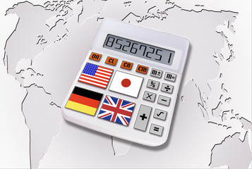 Calculator With World Flags