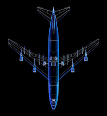 Top view technical illustration of a Boeing 747.
