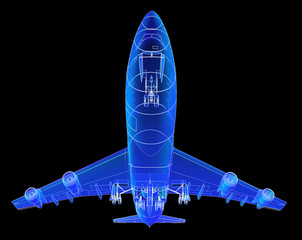 Super high resolution Boeing 747 blueprint rendering.