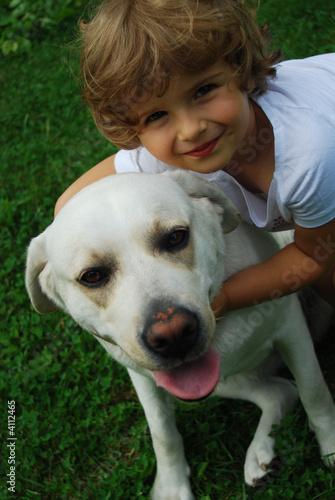 poster of little girl with labrador retriever