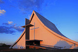 church at sunset in brasilia city capital of brazil at sunset poster
