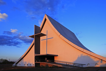 church at sunset in brasilia city capital of brazil at sunset