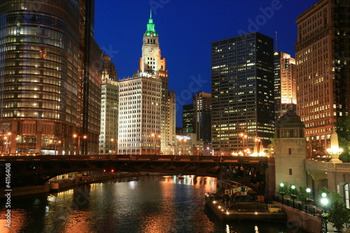 Poster Grote meren Chicago River at Night