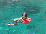 learning to swim, little girl, Greece