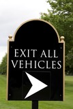 sign. exit all vehicles poster