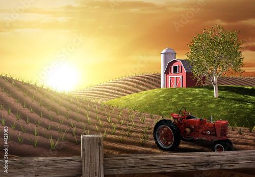 Leinwanddruck Bild Morning on the Farm