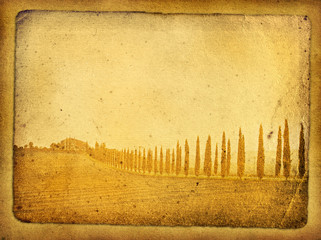 vintage postcard with classical tuscan view